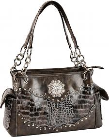 Blazin Roxx Croc Print Faux Leather Studded Concealed Carry Satchel Bag