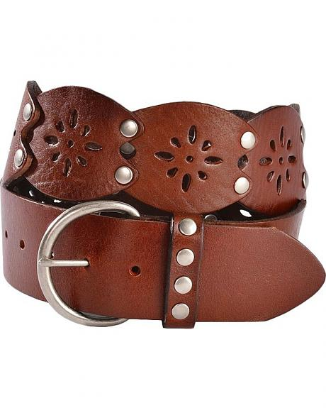 Red Ranch Wide Strap Perforated Leather Belt