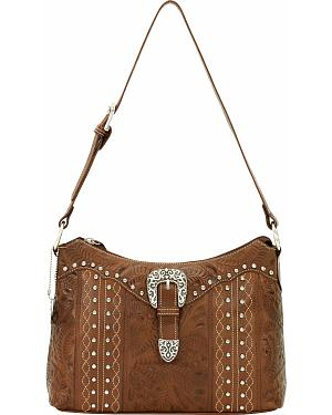 American West Twisted Trail Zip Top Shoulder Bag