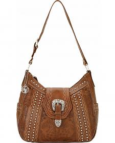 American West Twisted Trail Zip Top Structured Hobo