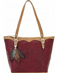 American West Birds of a Feather Red Zip Top Bucket Tote