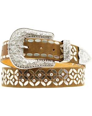 Ariat Flat Nail Head & Rhinestone Distressed Leather Belt