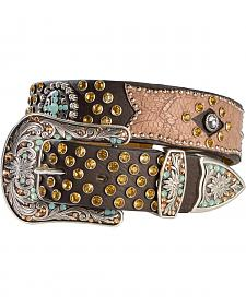 Ariat Bedecked Crackle Leather Overlay Belt