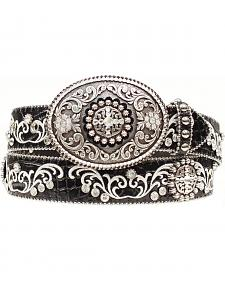 Ariat Croc Print Embroidered Bling Belt