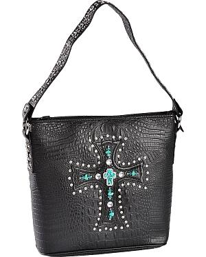 Blazin Roxx Croc Print with Cross Tote Bag