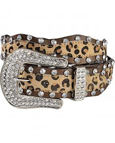 Red Ranch Bedecked Leopard Print Hair-on Hide Western Belt