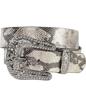 Red Ranch Metallic Snake Print Leather Belt