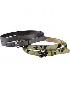 Red Ranch Camo Print Hair-on Hide & Black Skinny Belt Set