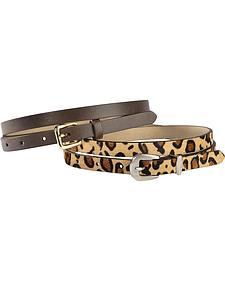 Red Ranch Leopard Print Hair-on Hide & Brown Skinny Belt Set