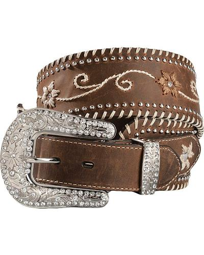 Blazin Roxx Wide Floral Embroidered Leather Belt Western & Country N3415002