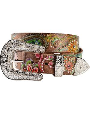Nocona Floral Paisley Print Leather Belt