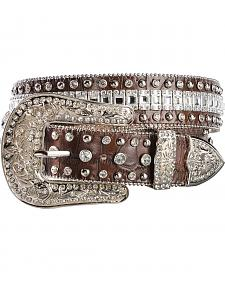 Nocona Crystal Croc Print Leather Belt