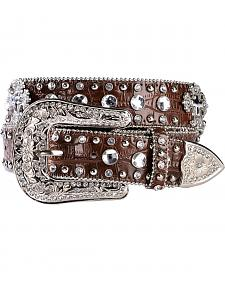 Blazin Roxx Crystal & Cross Concho Croc Print Leather Belt