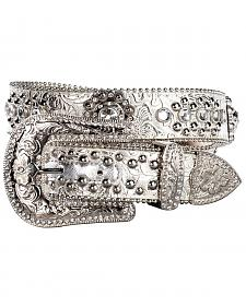 Blazin Roxx Floral Concho & Crystal Metallic Silver Leather Belt
