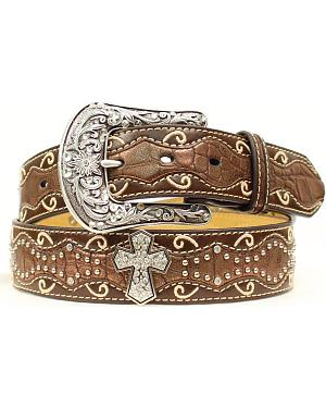 Ariat Brown Studded Cross Inlay Belt