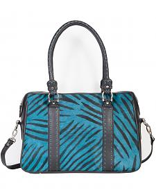 Scully Turquoise Calf Hair Zebra Print Tote