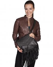 Scully Black Studded Fringe Shoulder Bag