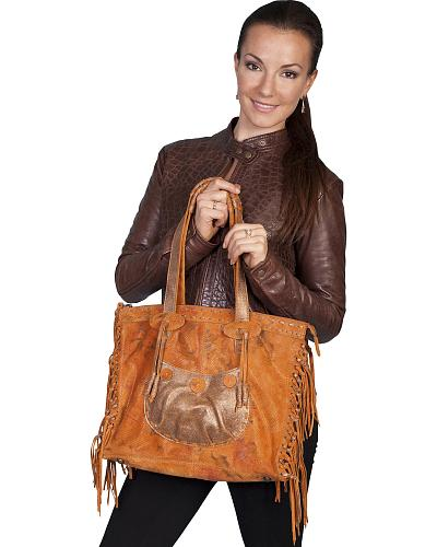 Scully Knotted Fringe Tote Western & Country B89-SST-ONE