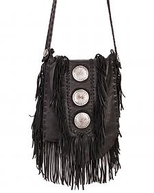 Scully Black Leather Fringe with Large Conchos Shoulder Bag