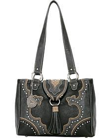 American West Bandana Topeka 3 Compartment Black Organizer Handbag
