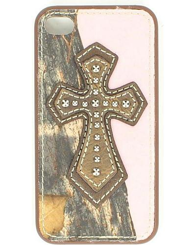 Pink Mossy Oak & Cross Leather iPhone 4 Case Western & Country 616430