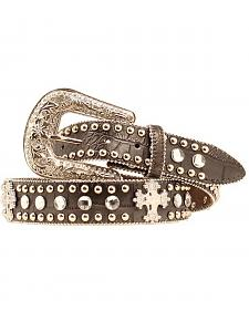 Blazin Roxx Faux Leather Croc Print Studded Cross Belt