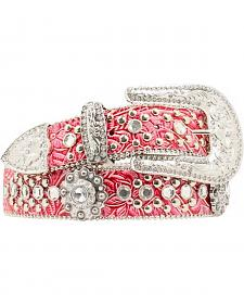 Blazin Roxx Pink Floral Tooled Embellished Belt