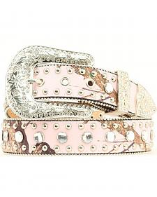 Blazin Roxx Pink Mossy Oak Beaded Edge Embellished Belt