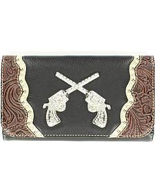 Blazin Roxx Crossed Pistols Concho Wallet