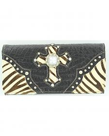 Blazin Roxx Zebra Print Hair-on-Hide Wallet