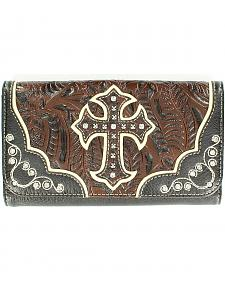 Blazin Roxx Embossed Inlay & Cross Overlay Wallet