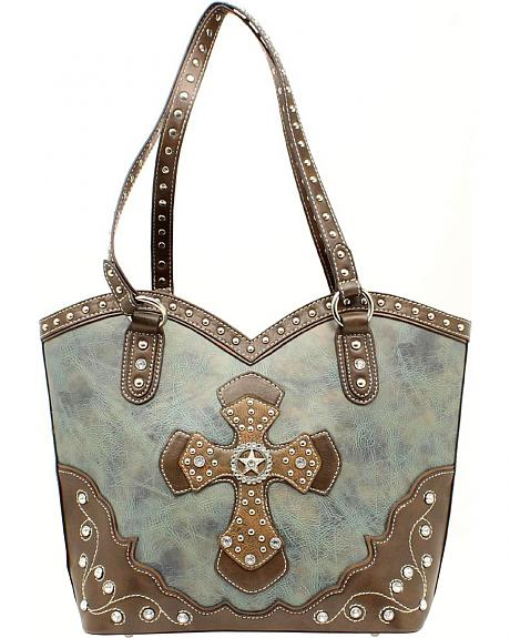 Blazin Roxx Boot Top Cross Applique Shoulder Bag