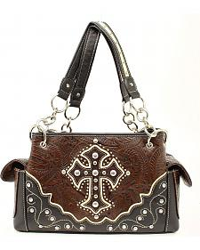 Blazin Roxx Tooled with Cross Applique Satchel Bag
