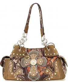 Blazin Roxx Mossy Oak with Cross Applique Satchel Bag