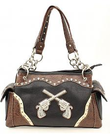 Blazin Roxx Crossed Pistols Satchel Bag