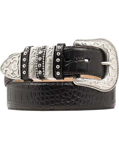 Nocona Croc Print Embellished Keeper Belt