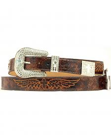 Nocona Cross & Wing Embroidered Distressed Leather Belt