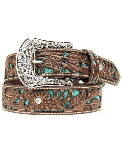 Ariat Tooled Turquoise Leather Inlay Belt Western & Country A1513402