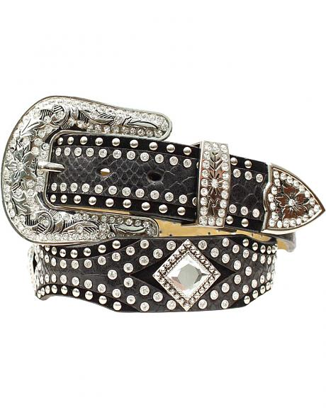 Nocona Diamond Concho Studded Suede & Smooth Leather Belt