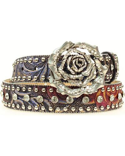 Nocona Studded Rose Leather Belt Western & Country N3412097