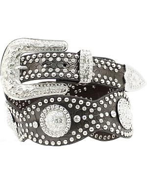 Nocona Studded Rhinestone Concho Scalloped Leather Belt