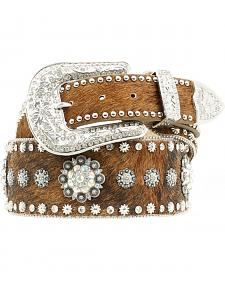 Nocona Hair-on-Hide Spur Rowel Concho Studded Belt