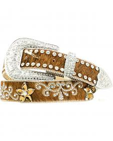 Nocona Hair-on-Hide Rhinestone Floral Belt
