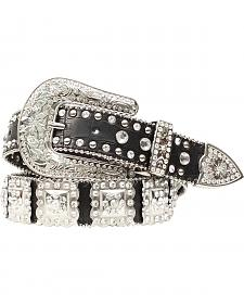 Nocona Studded Rhinestone Concho Leather Belt
