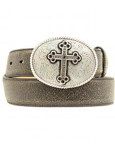 Nocona Distressed Cracked Leather Belt with Fancy Cross Oval Buckle
