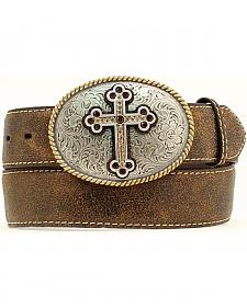 Nocona Distressed Cracked Leather Belt with Fancy Cross Oval Buckle - Plus