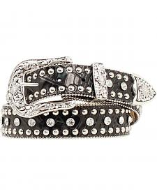 Nocona Rhinestone Studded Croc Print Leather Belt