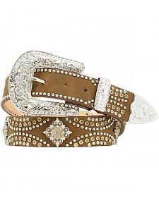 Nocona  Diamond Rhinestone Concho Leather Belt