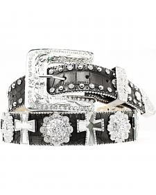 Nocona Rhinestone Cross & Concho Leather Belt