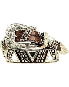 Nocona Triangular Concho Croc Print Leather Belt